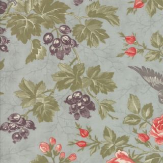 Moda Quill by 3 Sisters - 5591 - Bird Toile Floral on Pale Mint  - 44151 14 - Cotton Fabric